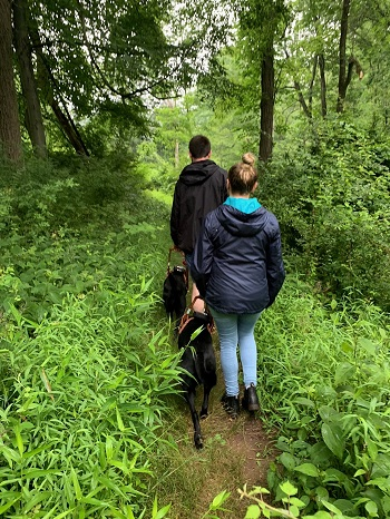Two students with black Labs are hiking on a forest trail while in class at The Seeing Eye. A young man is in front and a young woman follows. The instructor has taken this photo from behind them and is not visible.