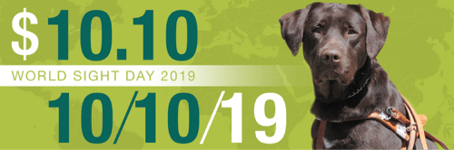 A chocolate Lab in a harness sits before an image of a world map with text: World Sight Day 2019.  $10.10. 10/10/19.
