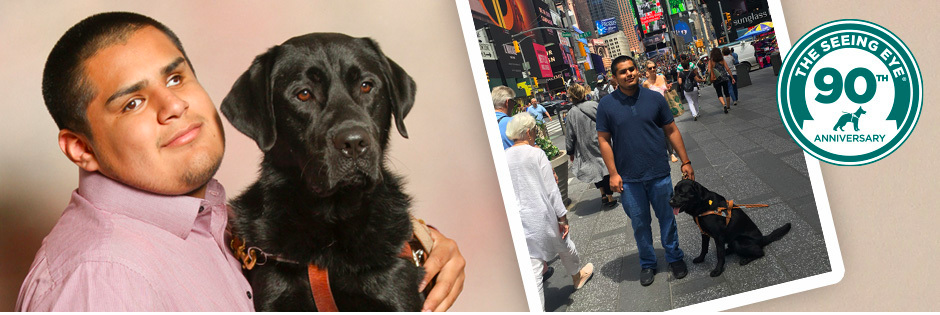 An image of Carlos & Fenway, his Seeing Eye dog, facing the camera. Another of Fenway next to Carlos in Times Square.