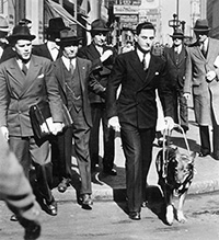 The famous New York City street crossing was captured shortly after Morris Frank and Buddy returned from training in Switzerland.