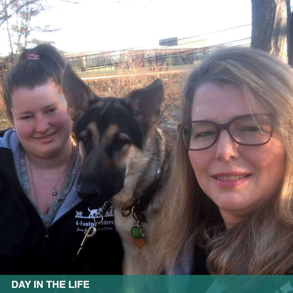 "Selfie photo of Melissa and Katelyn Baumgartner outdoors with a German shepherd between them.  Text: ""Spend a day in the life… a series about a typical day at The Seeing Eye®"""
