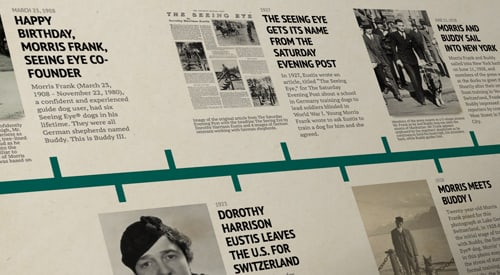 "View of a timeline receding into space, with archival photos next to events such as ""1908, Happy Birthday Morris Frank, Seeing Eye Co-founder."""