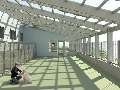 An illustration of the covered outdoor play area for the renovated kennel space.